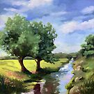 Beside the Creek - rural landscape oil painting by LindaAppleArt