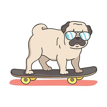 Pug Dog Skater Skateboarding Funny Gifts by miracletee