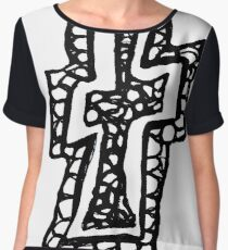 Lower case black and white Alphabet letter T Chiffon Top
