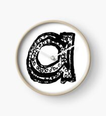 Lower case black and white Alphabet letter a  Clock
