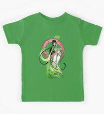 Geisha in Green with Koi and lotus Flowers Kids Tee