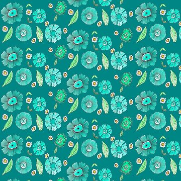 Boho Floral Bloom pattern on geeen-blue background by raquelcasilda