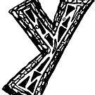 Lower case black and white Alphabet letter Y  by HEVIFineart