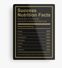 Success Nutrition Facts  Metal Print