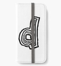 Lower case black and white Alphabet letter d  iPhone Wallet/Case/Skin