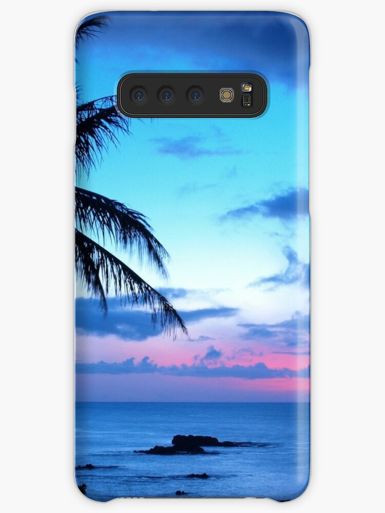 Tropical Island Pretty Pink Blue Sunset Landscape by LC Graphic Design Studio