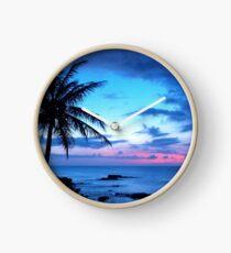Tropical Island Pretty Pink Blue Sunset Landscape Clock