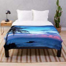 Tropische Insel-hübsche rosa blaue Sonnenuntergang-Landschaft Fleecedecke