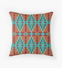 Bright Orange Red Aqua Turquoise Teal Mosaic Pattern Throw Pillow