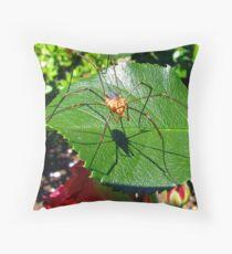 Harvestmen on a Rose Leaf Throw Pillow