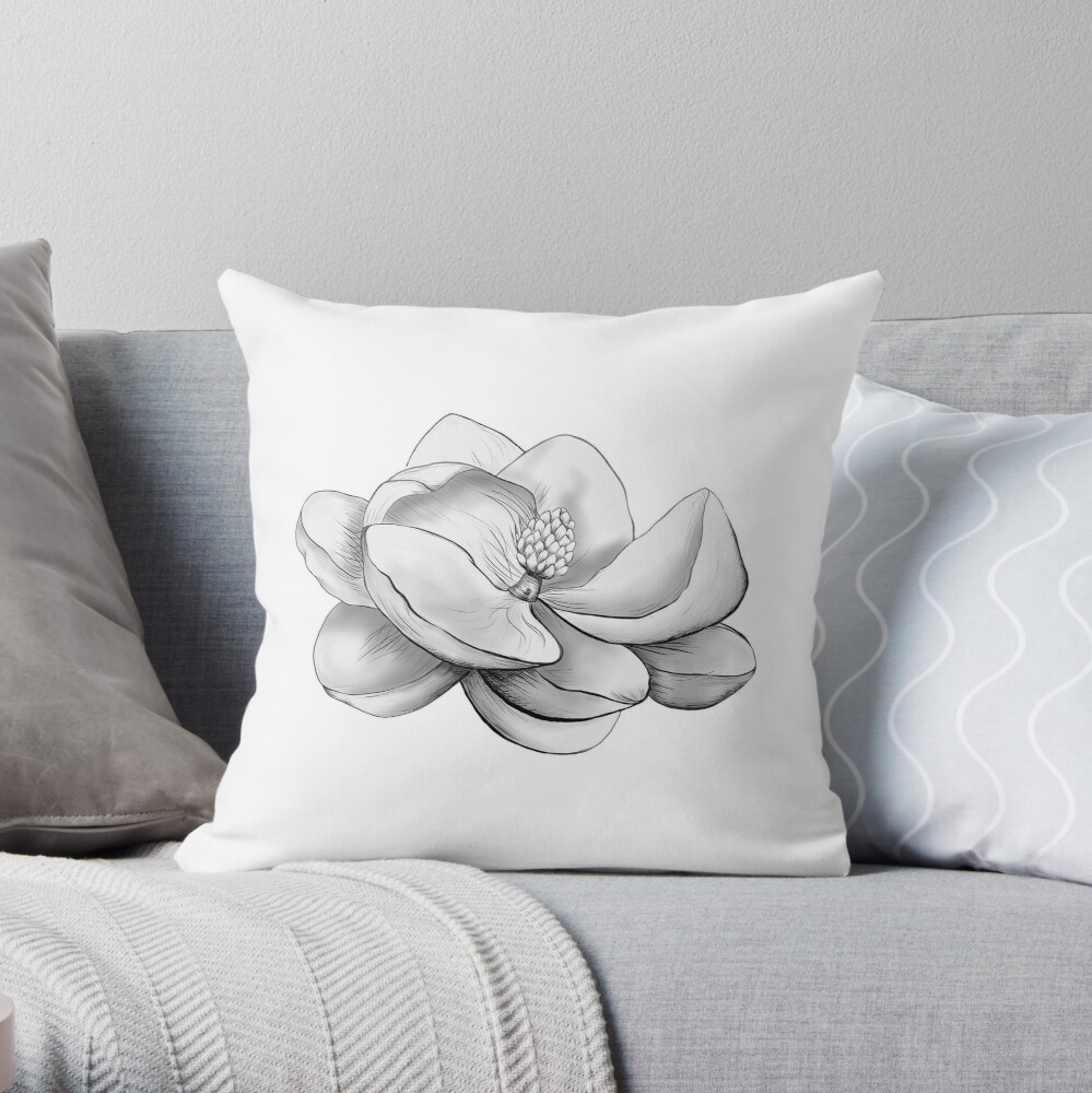Magnolia negra y gris Cojín