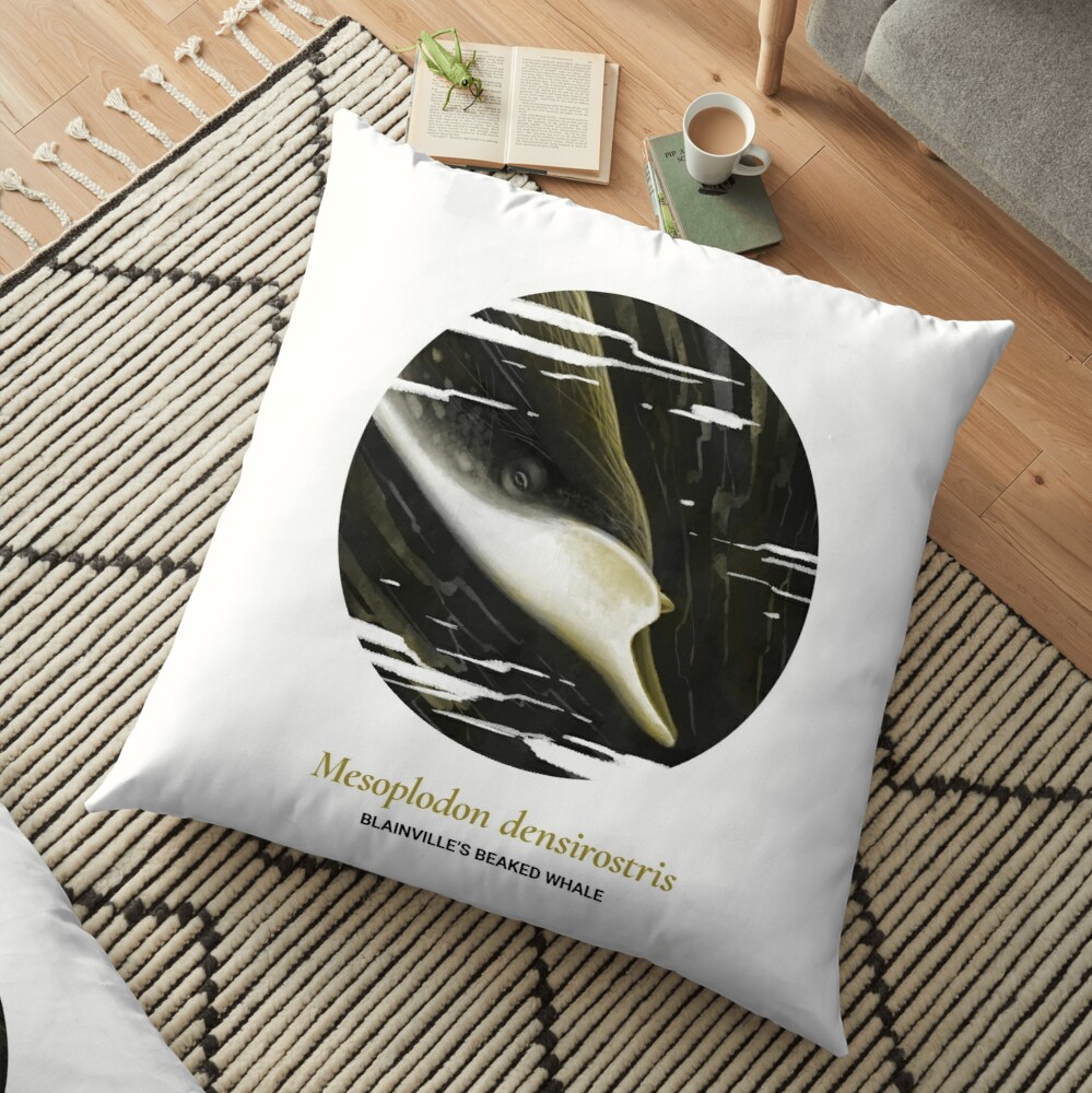 The Circles of Life: Blainville's Beaked Whale Floor Pillow