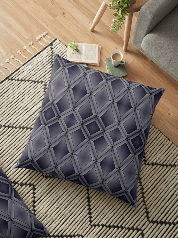 'Dark Diamond Scales' Floor Pillow by Anna Heidick