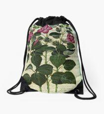 Italian Hibiscus Vintage Botanical  Drawstring Bag