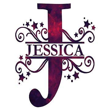 Jessica | Girls Name and Monogram in Dark Purple by PraiseQuotes