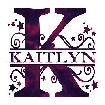 Kaitlyn | Girls Name and Monogram in Dark Purple by PraiseQuotes