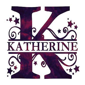 Katherine | Girls Name and Monogram in Dark Purple by PraiseQuotes