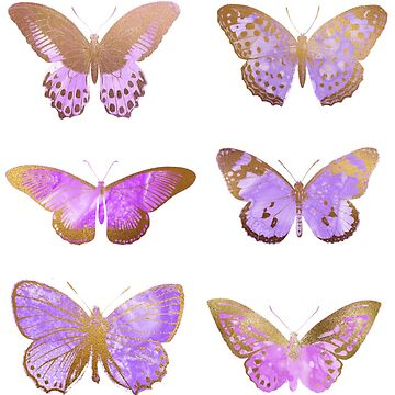 Purple Butterflies, Gold and Purple Butterfly Stickers by EarthlyIndigo