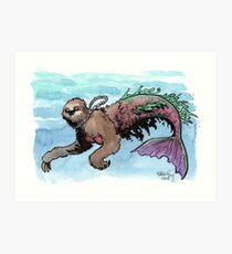 Herman the Mersloth (Sloth Mermaid) Art Print