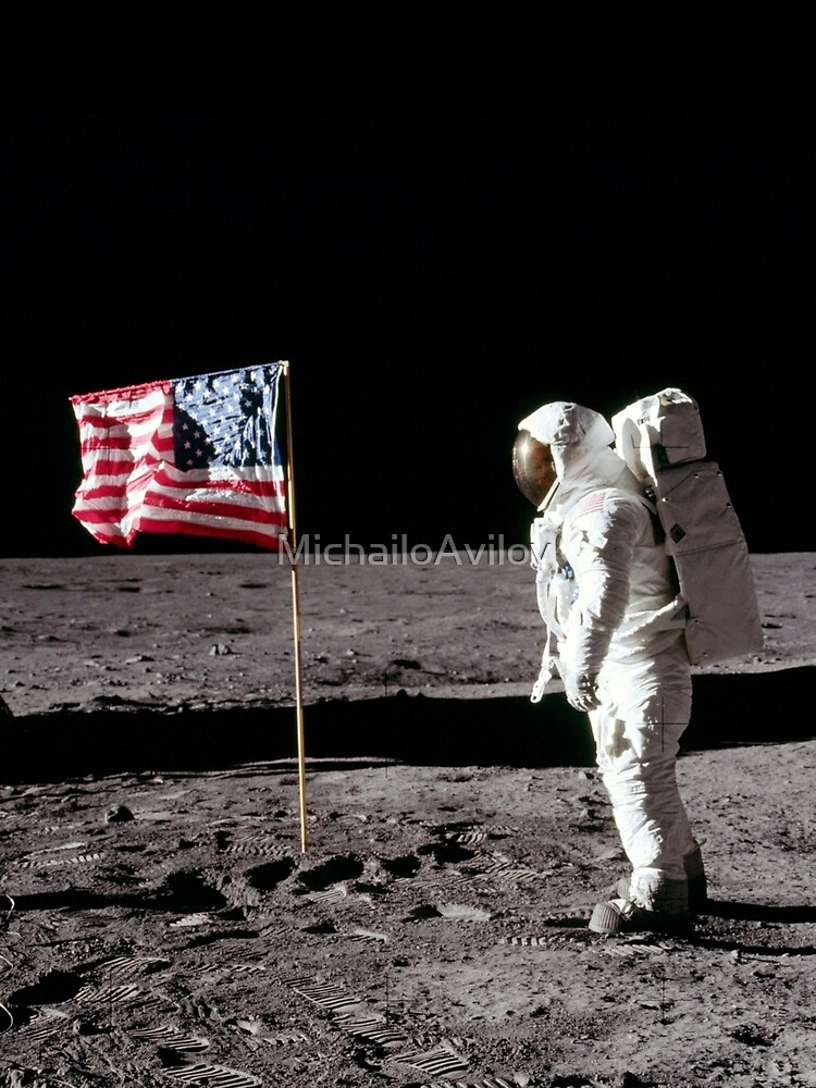 Buzz Aldrin saluting the flag of the USA on the Moon by MichailoAvilov