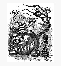 Alice and the Cheshire Cat, or A Very Merry Halloween in Wonderland Photographic Print