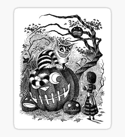 Alice and the Cheshire Cat, or A Very Merry Halloween in Wonderland Sticker