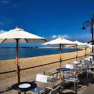 Cafe Tables - Lyme Regis Seafront by Susie Peek