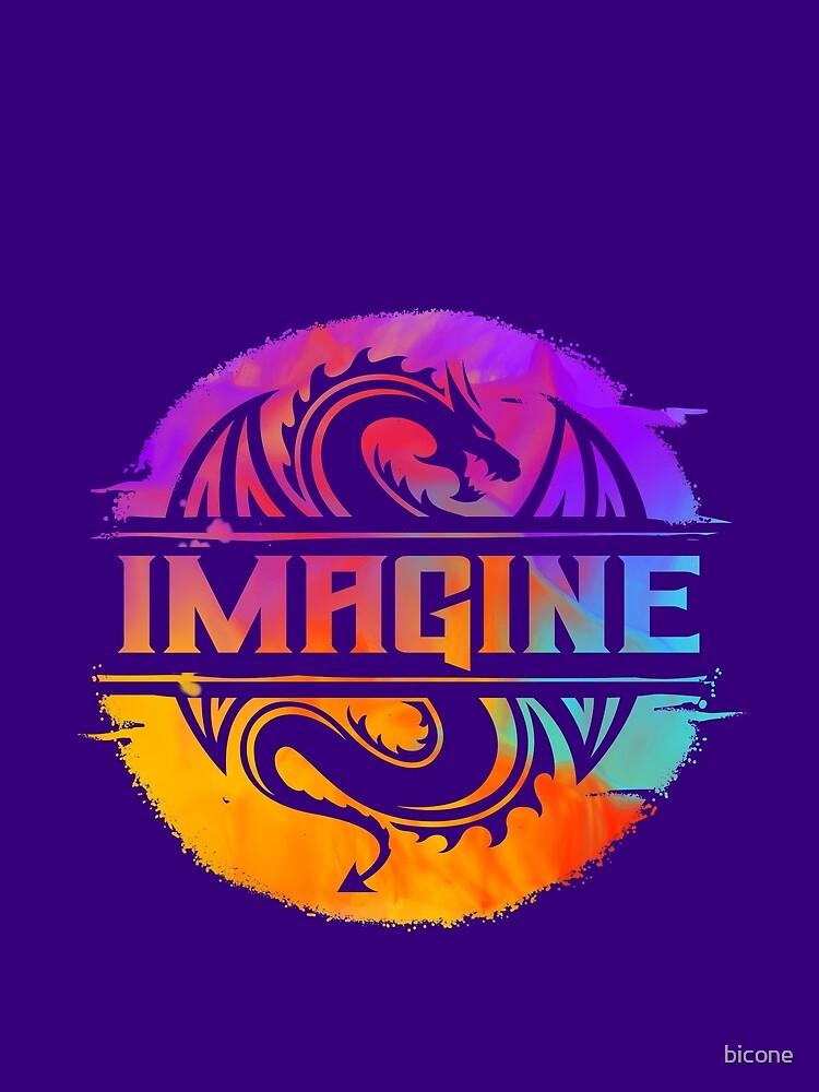 IMAGINE Colorful Watercolour Graphic Dragon  by bicone
