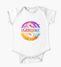 IMAGINE Colorful Watercolour Graphic Dragon  One Piece - Short Sleeve