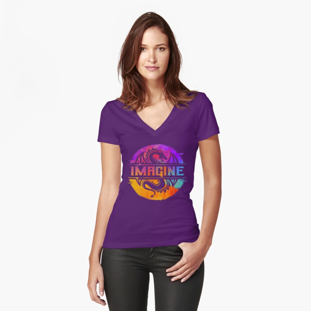 IMAGINE Colorful Watercolour Graphic Dragon  Fitted V-Neck T-Shirt