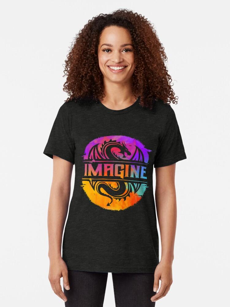 Vista alternativa de Camiseta de tejido mixto IMAGINE el dragón gráfico colorido de la acuarela