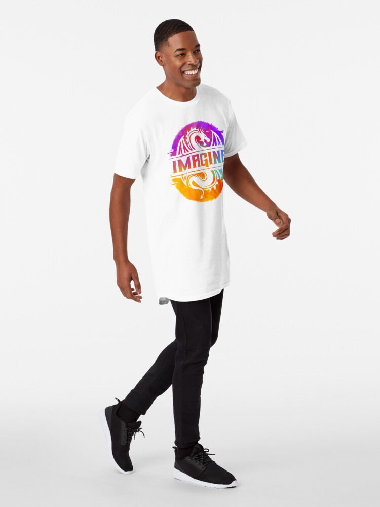 Alternate view of IMAGINE Colorful Watercolour Graphic Dragon  Long T-Shirt