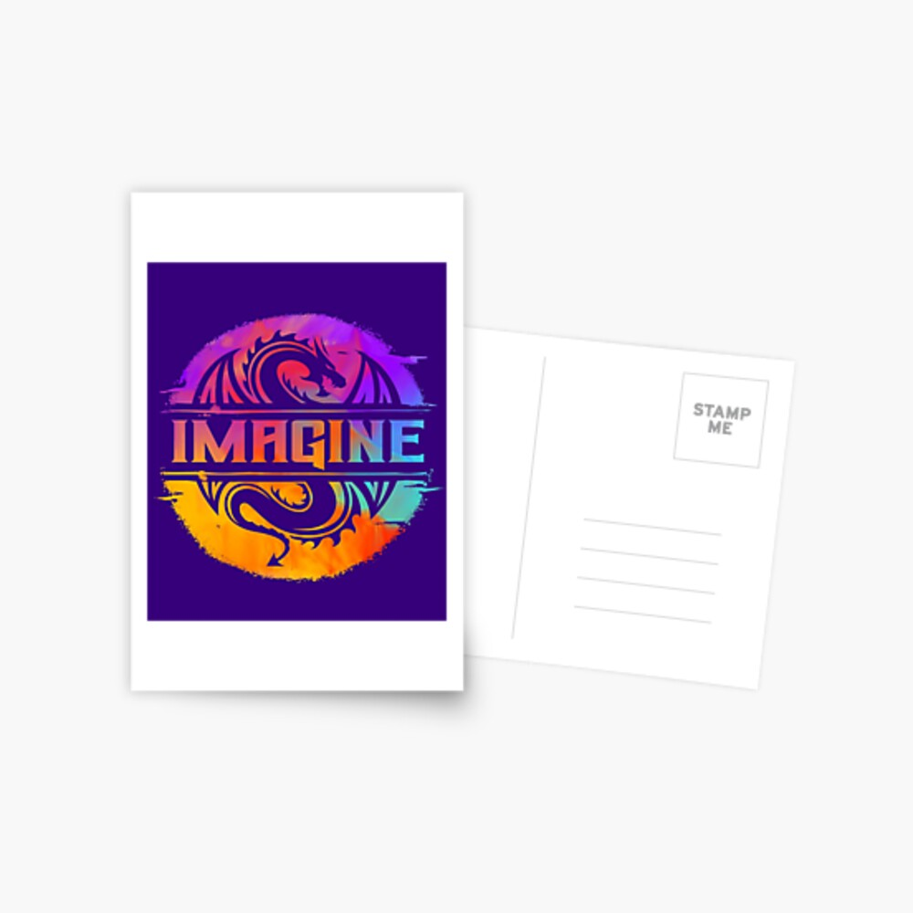 IMAGINE Colorful Watercolour Graphic Dragon  Postcard