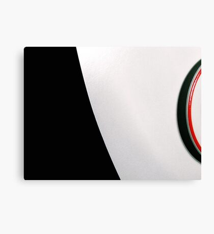 White table and saucer with red line Canvas Print