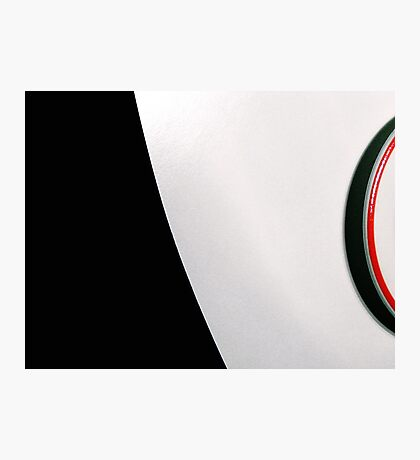 White table and saucer with red line Photographic Print