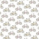 Pink and yellow bicycles by Sandy Mitchell