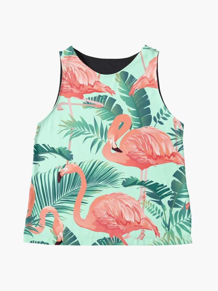 Alternate view of Flamingo Bird Tropical Palm Pattern Sleeveless Top