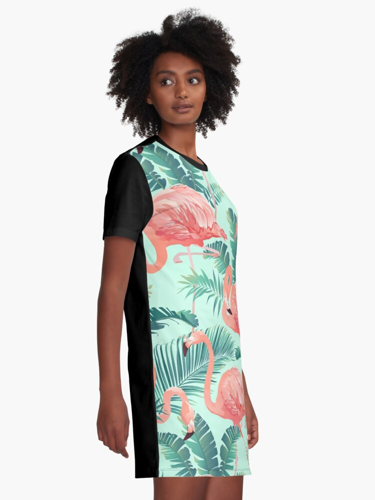 Alternate view of Flamingo Bird Tropical Palm Pattern Graphic T-Shirt Dress