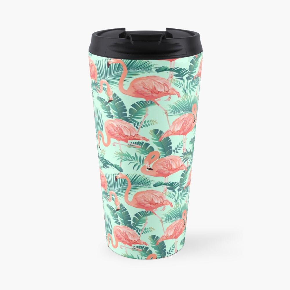 Flamingo Bird Tropical Palm Pattern Travel Mug