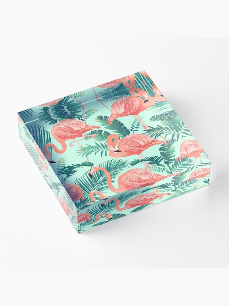 Alternate view of Flamingo Bird Tropical Palm Pattern Acrylic Block