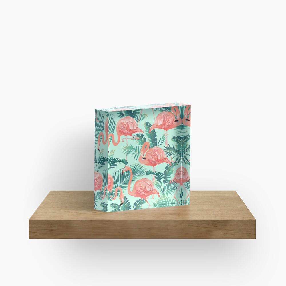 Flamingo Bird Tropical Palm Pattern Acrylic Block