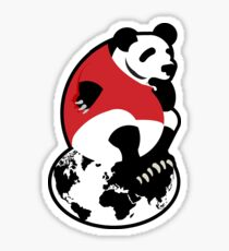 Thoughtful  panda sitting on top of the world Sticker