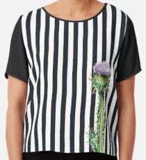 Cotton Thistle with stripes illustrated design Chiffon Top