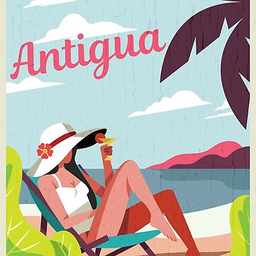 Vintage Antigua Tropical Vacation Poster by dk80