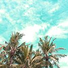Wild and Free Palm Trees Landscape - kaki and turquoise by Dominiquevari