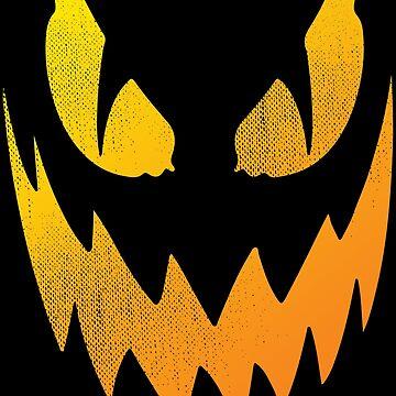Scary Jack-O-Lantern Halloween Face Distressed Gift by kolbasound