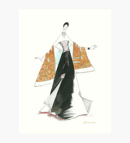 Golden shawl. Art Print