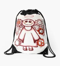 Peace Angel Red Drawstring Bag