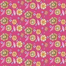 Boho Floral Bloom yellow pattern on fucsia background by raquelcasilda