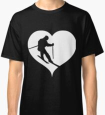 Skier skiing heart Classic T-Shirt